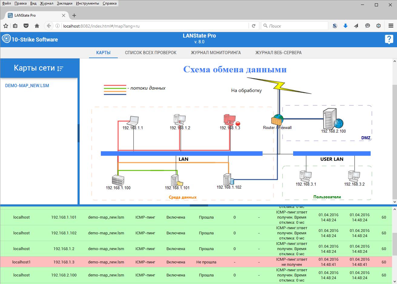 веб-карта состояния сети (схема xml) .