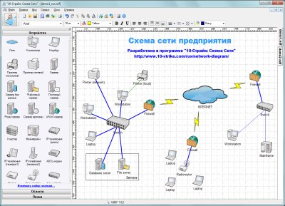 Пример создания схемы локальной сети предприятия